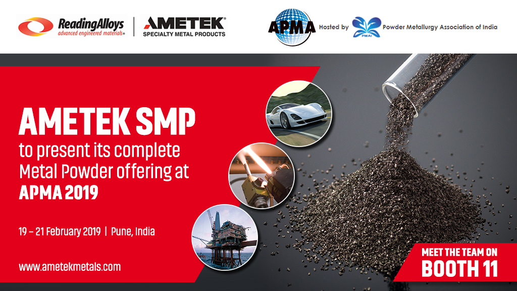 AMETEK SMP Eighty Four and Reading Alloys to showcase powder products at APMA 2019